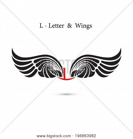 L-letter sign and angel wings.Monogram wing logo mockup.Classic emblem.Elegant dynamic alphabet letters with wings.Creative design element.Corporate branding identity.Flat web design wings icon.Vector illustration.