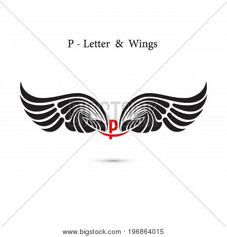P-letter sign and angel wings.Monogram wing logo mockup.Classic emblem.Elegant dynamic alphabet letters with wings.Creative design element.Corporate branding identity.Flat web design wings icon.Vector illustration.