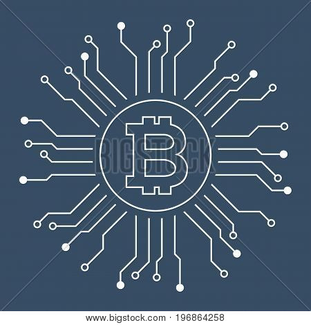 bitcoin and circuit, outline design vector illustration for bitcoin mining