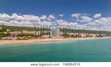 GOLDEN SANDS BEACH VARNA BULGARIA - MAY 19 2017. Aerial view of the beach and hotels in Golden Sands Zlatni Piasaci. Popular summer resort near Varna Bulgaria