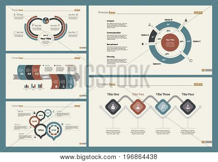 Infographic design set can be used for workflow layout, diagram, annual report, presentation, web design. Business and analyzing concept with process and doughnut charts.