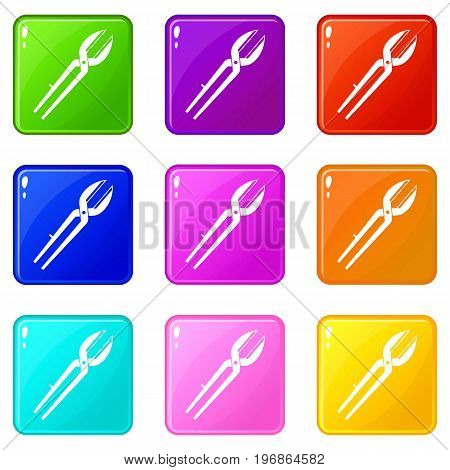 Metal scissors icons of 9 color set isolated vector illustration
