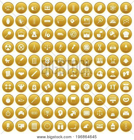 100 libra icons set in gold circle isolated on white vector illustration