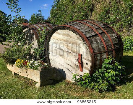 Old Wooden Barrel Cask For Whisky Or Beer Or Wine Vintage