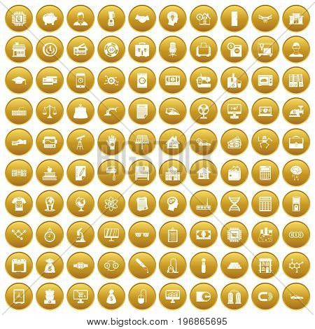 100 loans icons set in gold circle isolated on white vector illustration