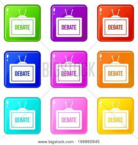 TV with the Debate inscription on the screen icons of 9 color set isolated vector illustration
