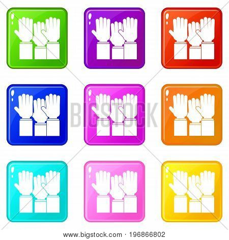 Different people hands raised up icons of 9 color set isolated vector illustration