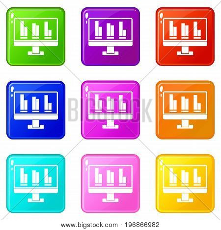 Business graph at computer screen icons of 9 color set isolated vector illustration