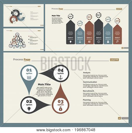 Infographic design set can be used for workflow layout, diagram, annual report, presentation, web design. Business and statistics concept with process, bar, doughnut and percentage charts.