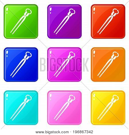 Vintage blacksmith pincers icons of 9 color set isolated vector illustration
