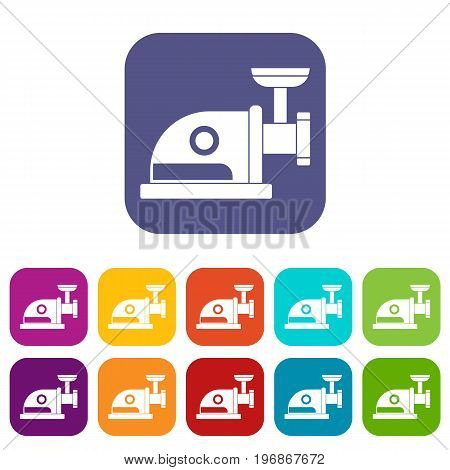 Electric grinder icons set vector illustration in flat style in colors red, blue, green, and other