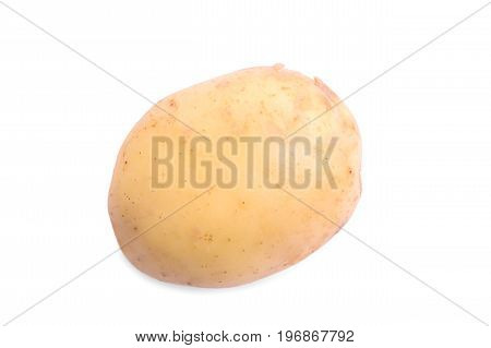 Close-up picture of healthy, ripe and raw young potato, isolated on a white background. Summer harvest of vegetables. Healthful agriculture ingredients for homemade meals.