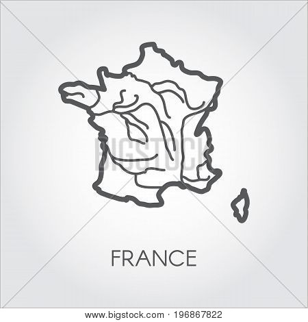 France contour map. Outline icon of French Republic. European border country on a gray background with signature for different design projects