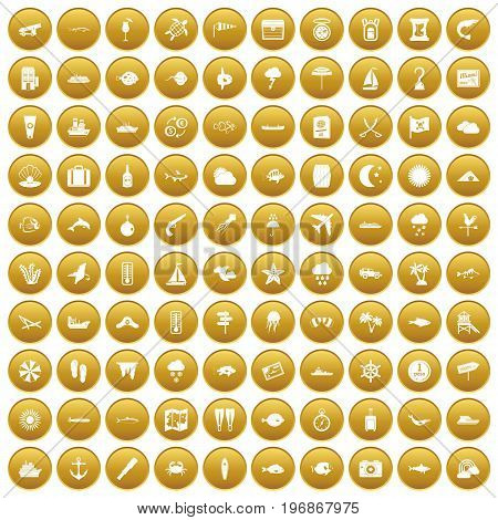 100 marine environment icons set in gold circle isolated on white vector illustration
