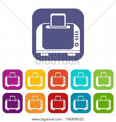 Toaster icons set vector illustration in flat style in colors red, blue, green, and other