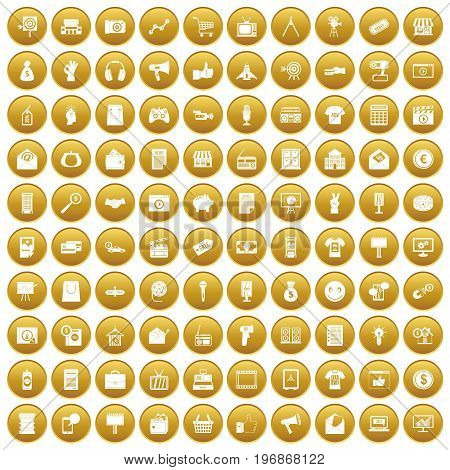 100 marketing icons set in gold circle isolated on white vector illustration
