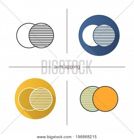 Overlapping symbol icon. Flat design, linear and color styles. Convergence abstract metaphor. Isolated vector illustrations