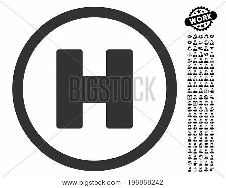 Helicopter Landing icon with black bonus men design elements. Helicopter Landing vector illustration style is a flat gray iconic element for web design, app user interfaces.
