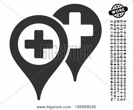Hospital Map Markers icon with black bonus job graphic icons. Hospital Map Markers vector illustration style is a flat gray iconic element for web design, app user interfaces.