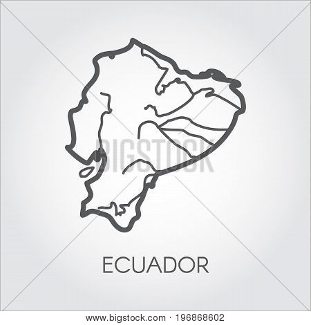 Vector map silhouette of Ecuador country. Line simplicity icon with signature for cartography, geography, education projects, sites, articles and other design needs