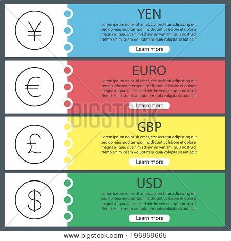 Currencies web banner templates set. Yen, US dollar, euro, pound. Website color menu items with linear icons. Vector headers design concepts