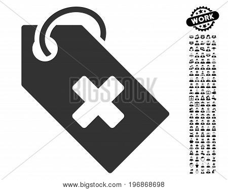 Hospital Tag icon with black bonus men pictograph collection. Hospital Tag vector illustration style is a flat gray iconic element for web design, app user interfaces.