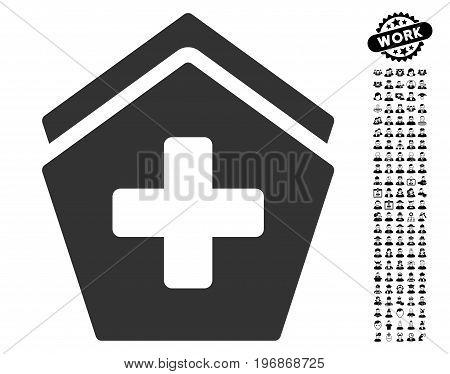 Hospital icon with black bonus job symbols. Hospital vector illustration style is a flat gray iconic symbol for web design, app user interfaces.