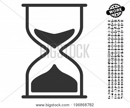 Hourglass icon with black bonus job pictograph collection. Hourglass vector illustration style is a flat gray iconic element for web design, app user interfaces.