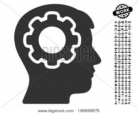 Human Mind icon with black bonus men clip art. Human Mind vector illustration style is a flat gray iconic symbol for web design, app user interfaces.