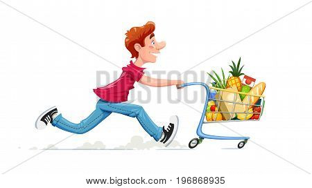 Running boy with product cart. Shopping in supermarket. Cartoon character foodstuff trolley. Isolated white background. Vector illustration.