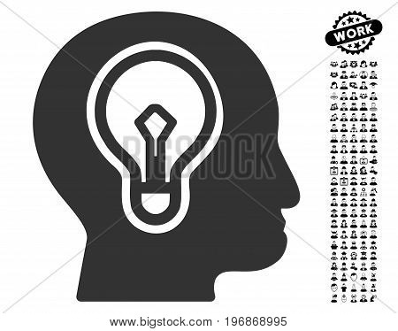 Idea Bulb icon with black bonus professional graphic icons. Idea Bulb vector illustration style is a flat gray iconic symbol for web design, app user interfaces.
