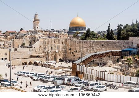 Jerusalem Israel July 14 2017 : View of the Temple Mount and El-Ghawanima Tower in the Old City of Jerusalem Israel