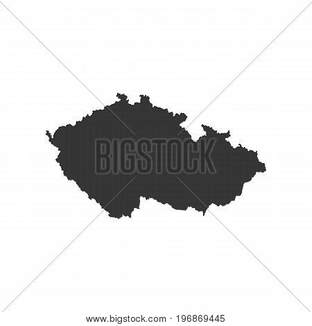 Czech Republic map outline on the white background. Vector illustration