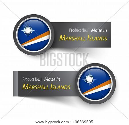 Flag icon and label with text made in Marshall Islands .
