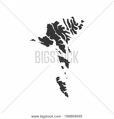 Faroe Islands map outline on the white background. Vector illustration