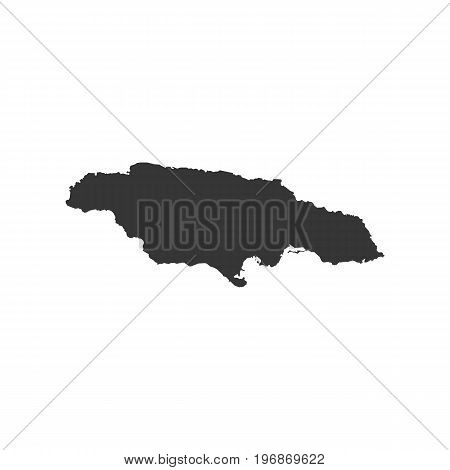 Jamaica map outline on the white background. Vector illustration