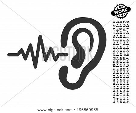 Listen icon with black bonus professional graphic icons. Listen vector illustration style is a flat gray iconic symbol for web design, app user interfaces.