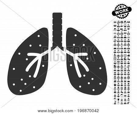 Lungs icon with black bonus job clip art. Lungs vector illustration style is a flat gray iconic element for web design, app user interfaces.