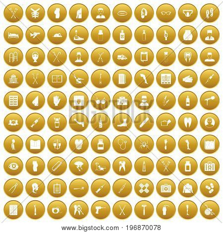 100 medical care icons set in gold circle isolated on white vector illustration