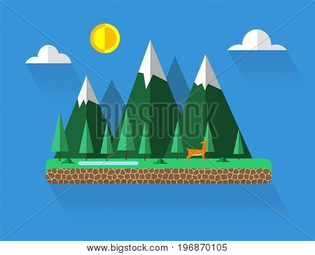 Flat design of nature landscape with sun, hills and clouds.