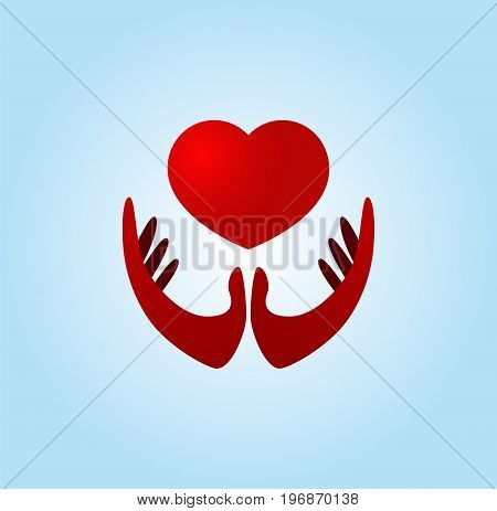 Hand holding heart. Concept of kindness, charity and love. Vector