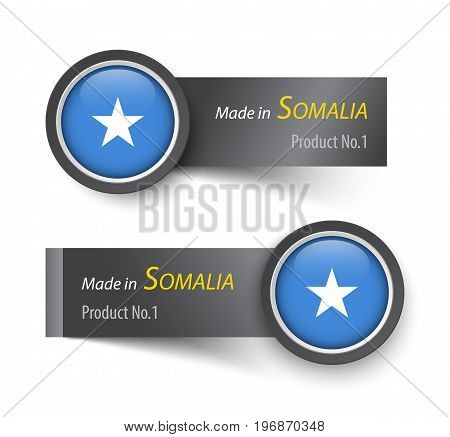 Flag icon and label with text made in Somalia .