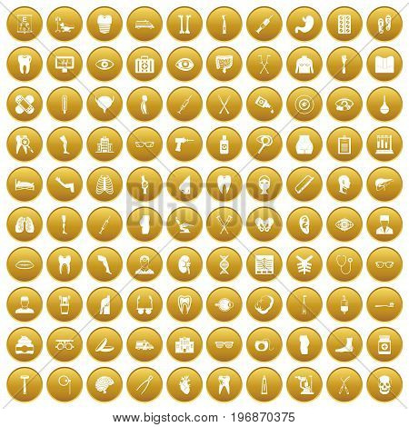 100 medicine icons set in gold circle isolated on white vector illustration
