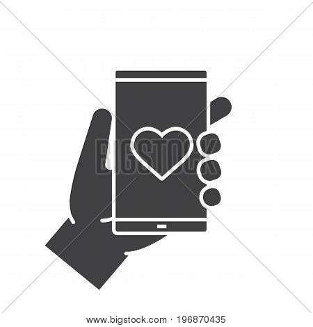 Hand holding smartphone glyph icon. Silhouette symbol. Smart phone dating app. Negative space. Vector isolated illustration
