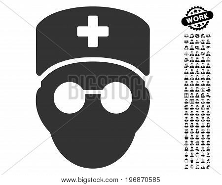 Medic Head icon with black bonus people pictures. Medic Head vector illustration style is a flat gray iconic symbol for web design, app user interfaces.