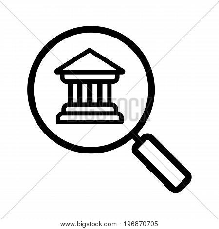 Bank search linear icon. Thin line illustration. Magnifying glass with bank building contour symbol. Vector isolated outline drawing