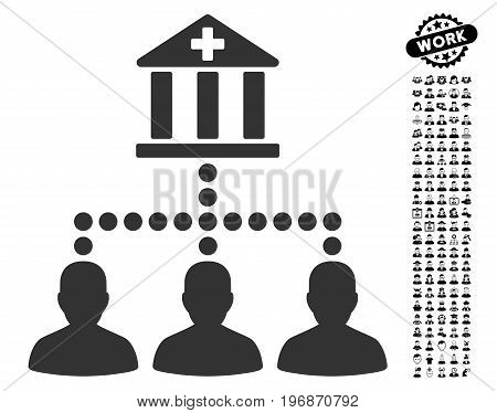 Medical Bank Clients icon with black bonus job pictograph collection. Medical Bank Clients vector illustration style is a flat gray iconic element for web design, app user interfaces.