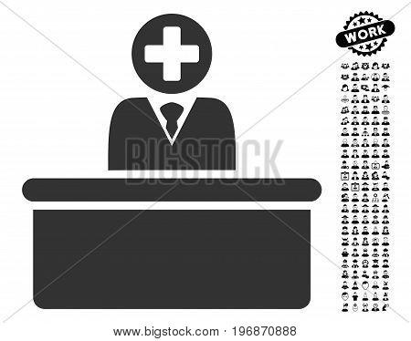 Medical Bureaucrat icon with black bonus men symbols. Medical Bureaucrat vector illustration style is a flat gray iconic symbol for web design, app user interfaces.