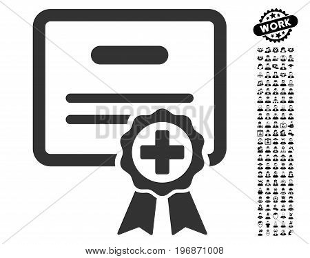 Medical Certificate icon with black bonus men pictures. Medical Certificate vector illustration style is a flat gray iconic symbol for web design, app user interfaces.