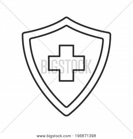 Medical insurance linear icon. Thin line illustration. Security shield with medical cross. Insurance policy contour symbol. Vector isolated outline drawing